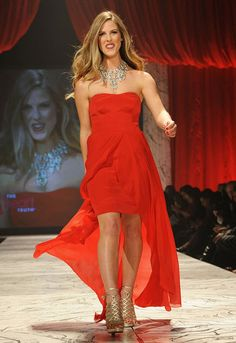 """Torah Bright, in Nicole Miller for The Heart Truth's 2013 Red Dress Collection Fashion Show, says: """"I work the runway because I am conscious, I am here, and I do care for my fellow human beings. High Fashion, Fashion Show, Womens Fashion, Torah Bright, Beautiful Red Dresses, Strapless Dress Formal, Formal Dresses, Beautiful Goddess, Nicole Miller"""