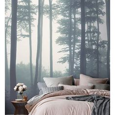 To wake up with the serenity of this forest mural would be so magical!  #serene #serenity #comfort #design #bedroom #bedrooms #decor #mural #interiordesign #interiordecor ( # @vonfitzdesign via @latermedia )  #SpringGreenLoves