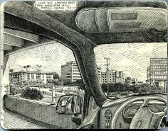 loop 410 looking east from the north star mall parking garage by paul heaston… Drawing Sketches, Art Drawings, Moleskine Sketchbook, Sketchbooks, Perspective Drawing, Urban Sketchers, Amazing Drawings, Sketchbook Inspiration, Art Plastique