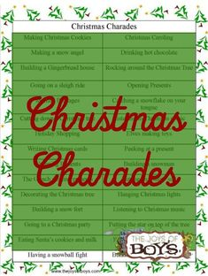 """It is always fun to get the family together and play games over the holidays. This Christmas Charades game is fun for boy kids and adults. You'll love watching Grandpa act out """"Rockin' Around the Christmas Tree."""""""
