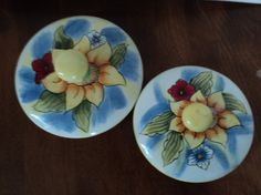 Two ceramic lids by WhiskeysWhims on Etsy, $3.00
