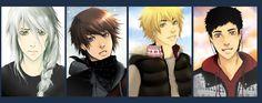Exitus Letaris (od prawej: Ourell, David, Matt i Michael) Art Pieces, Anime, David, Manga, Artworks, Manga Anime, Art Work, Cartoon Movies, Manga Comics