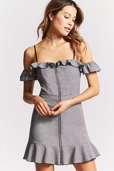 Gingham Open-Shoulder Dress | Forever 21