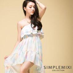 CliPick 的Simple MiXi 的春色渲染前短後長平口洋裝(共二色)