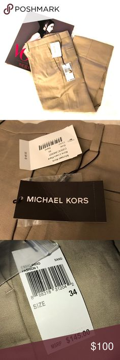 """MICHAEL KORS Men's Linen Trouser NWT✨ Flat front, tailored fit linen pant by Michael Kors. Color is """"Sand"""" which is more of a dark khaki color. The last two pictures are just to show fit and are not the same color. Inseam is approximately 33"""".  Reasonable offers always welcome. Bundle for additional discounts 😊 Michael Kors Pants Chinos & Khakis"""
