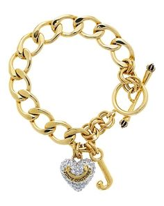 nwt gold juicy couture charm bracelet nwt never worn. comes with juicy box. diamond heart charm, and J charm. picture best represents the color Juicy Couture Jewelry Bracelets Juicy Couture Bracelet, Juicy Couture Charms, Gold Jewelry, Jewelery, Women Jewelry, Jewelry Bracelets, Charm Jewelry, Bangles, Necklaces