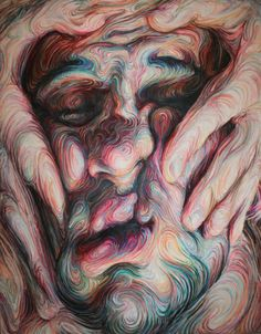 Swirling, Psychedelic Self Portraits by Nikos Gyftakis portraits painting - such beautiful colors and technique.