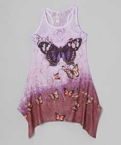 Look what I found on #zulily! Purple Butterfly Sidetail Dress - Girls by India Boutique #zulilyfinds