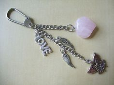 ANGELS WATCHING OVER ME with LOVE ~ Rose Quartz Gemstone Bag charm / keyring | eBay