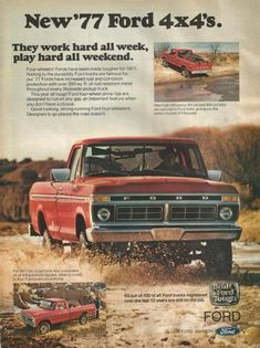 Ads for US cars. 1979 Ford Truck, Ford 4x4, Ford Pickup Trucks, 4x4 Trucks, Cool Trucks, Lifted Trucks, Pickup Camper, Jeep Pickup, Diesel Trucks