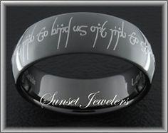Wedding Rings With Elvish Engraving
