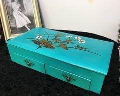 1960's Dark Mint Jewelry Box , Vintage Mod Jewelry Box , 1960's Flower Power…