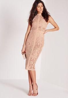 Lace Midi Dress Nude