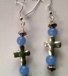 Silver Crosses in Blue Glass Dangle Earrings