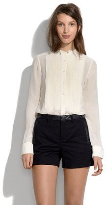 Madewell Leather Trim Shorts    #Chic Only #Glamour Always