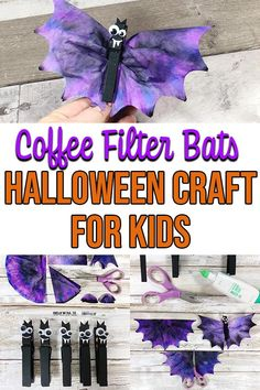 These Coffee Filter Bats are so cute! Planning some fun Halloween crafts for kids? Then you'll want to add this bat craft to your plans. They are easy to make at home or at school. Perfect for preschool and kindergarten but children of all ages will enjoy Halloween Craft Activities, Fun Craft, Halloween Arts And Crafts, Halloween Bats, Holidays Halloween, Preschool Crafts, Halloween Magic, Craft Ideas, Halloween Crafts For Kindergarten