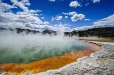 Champagne Pool, New Zealand:    This geothermal pool is a hot spring that gets its boozy name from the bubbly nature of its waters.     © Michael Runkel/Getty Images