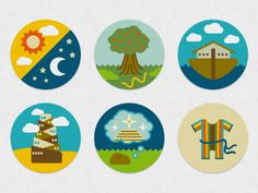 Bible Story Icons: Genesis Series designed by Liza Unson. Connect with them on Dribbble; the global community for designers and creative professionals. Book Of Genesis, Genesis Bible, Genesis 1, Bible Stories, School Fun, Sunday School, Church Logo, Kids Ministry, Bible For Kids