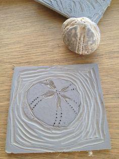 Thursday 25 June Fossil sea urchin linocut i