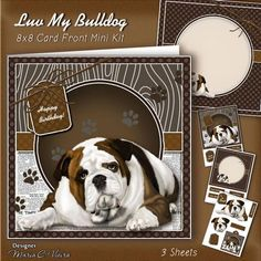 Luv My Bulldog 8x8 Mini Kit on Craftsuprint designed by Maria Christina Vieira  - Luv My Bulldog 8x8 Card Front Mini Kit,3 Sheet mini kit comes with, Card Front, Matching Insert, Matching TAG, Sentiment Labels, and layered Bulldog decoupage. Makes a very fine card for female especially male occasions from Birthday to to retirement, Grandfather, and Father's Day. Approx: 8x8 in. card front.Labels:Happy Birthday, Happy Retirement!, To My Dad, Best Dad Ever, Happy Father's Day, Best Wishes…