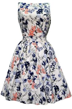 Vintage Peach & Navy Floral Tea Dress