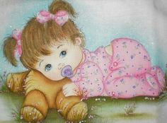 Baby Images, Baby Pictures, Cute Pictures, Baby Album, Holly Hobbie, Baby Art, Cute Little Girls, Fabric Painting, Vintage Postcards