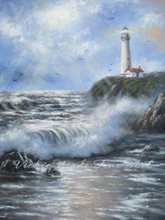 Chocolate Sea Oil Painting seascape paintings by VickieWadeFineArt Seascape Paintings, Cool Paintings, Beautiful Paintings, Watercolor Paintings, Watercolours, Painting Art, Windmill Art, Lighthouse Painting, Landscape Pictures
