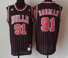 855a480c8 Adidas NBA Chicago Bulls 91 Dennis Rodman New Revolution 30 Swingman Black  Red Stripe Jersey Soccer