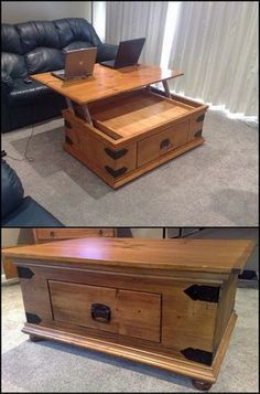 How To Build A DIY Lift Top Coffee Table http://theownerbuildernetwork.co/8wf4 If you've ever tried eating or using your laptop on top of a coffee table, you know it isn't comfortable. Here's a great DIY project for a dual purpose coffee table.