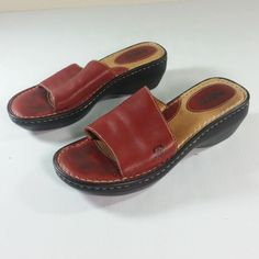 a71b249dc9b Born Womens Sandals Dark Red Leather Size 7 Euro Size 38 EUC  Brn  Casual   Casual
