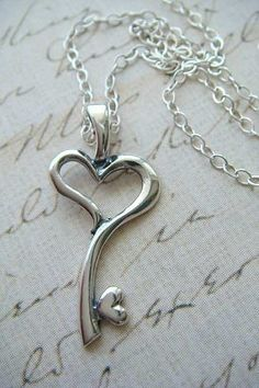 Heart key charm. Silver heart key necklace. Valentines Day gift.