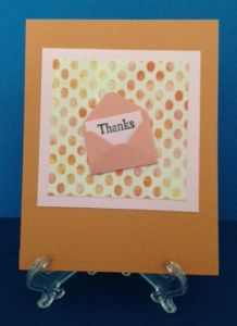 Thank you card using paper from Treasure by Authentique. Small envelope punch by Marvy Uchida.