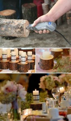Clever idea - Perhaps use a bigger bit of wood and drill holes for different size candles?