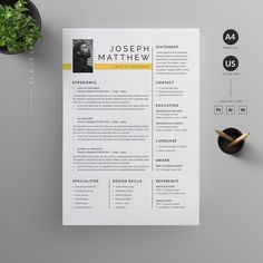 Clean, Modern and Professional Resume and Letterhead design. Fully customizable easy to use and replace color & text. Give an employer a great first impression and help you land your dream job. Letterhead Design, Resume Design Template, Cv Template, Resume Templates, Design Templates, Resume Layout, Resume Cv, Resume Writing, Business Resume