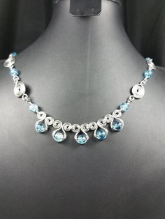 Spiral Wire Wrap and Blue Crackle Bead Necklace