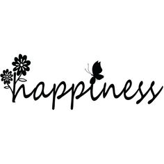 Happiness With Flower and Butterfly Outdoor Wall Art Inspirational... ($35) ❤ liked on Polyvore featuring home, home decor, wall art, text, backgrounds, wall décor, silver, saying, quotes and phrase