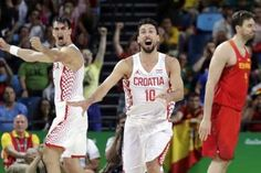 Croatia upsets Spain 72-70 as Saric blocks Gasol's last shot  -  August 7, 2016  -     Croatia's Roko Ukic (10) and Dario Saric, left, celebrate after Spain's Pau Gasol, right, failed to make the final shots and Croatia upset Spain in a men's basketball game at the 2016 Summer Olympics in Rio de Janeiro, Brazil, Sunday, Aug. 7, 2016. (AP Photo/Eric Gay)