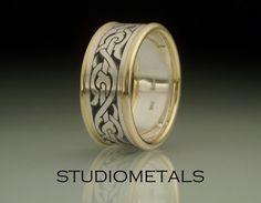 Men's Wedding Ring, Nordic Ring, Viking Ring, Men's Ring, Engraved Wedding Band, R506