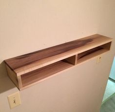 Floating Shelf with divider, wood shelf, rustic home decor, floating media conso… - Regal Selber Bauen Floating Media Console, Floating Shelf Under Tv, Floating Shelves Bathroom, Floating Tv Stand, Wood Shelves, Display Shelves, Storage Shelves, Shelving, Tv Wall Shelves