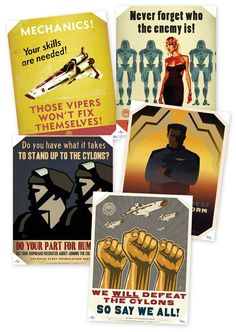 Awesome Battlestar Galactica posters.  From: http://www.thinkgeek.com/homeoffice/a42d/zoom