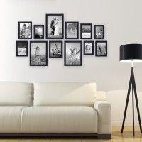 Bilderwand gestalten Modern 12er Set Massivholz Bilderrahmen-Collage