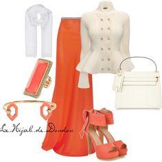Orange and White Hijab Outfit http://lehijabdedoudou.wordpress.com