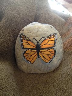 Painted Butterfly on a Rock
