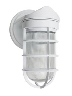 Industrial Static Topless Sconce, 200-White, CGG-Standard Cast Guard, RIB-Ribbed Glass