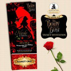 Beauty and The Beast Ticket Invitation - Movie Party Invitation - Beauty and The Beast Birthday Party - Printable Ticket Invitation