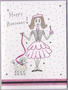 Paris Poodle Girl Birthday Card Vintage Style by VintageOodles