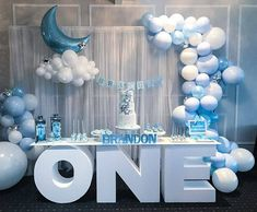 Twinkle twinkle little star birthday! Our ONE table adored by balloons . Pretty setup of our cake and desserts by Alex, you're amazing at what you do! 💙💙💙💙the balloon Baby Birthday Decorations, Boys First Birthday Party Ideas, Baby Boy 1st Birthday Party, Birthday Themes For Boys, Baby Shower Decorations For Boys, Birthday Celebration, Birthday Candy, Baby Shower Balloons, Birthday Balloons