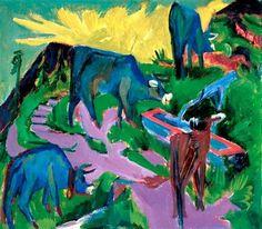 Ernst Ludwig Kirchner, Cattle at Sunset on ArtStack #ernst-ludwig-kirchner #art
