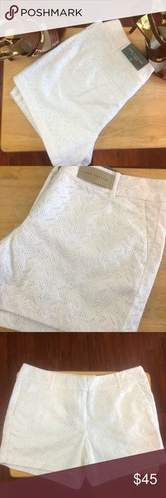 """Ann Taylor white paisley embroidered shorts size 8 Ann Taylor white paisley embroidery shorts size 8. (Shell) base 100% cotton, Embroidery 100% rayon, lining 100% cotton. Waist measures 17.5"""", Inseam 4.5"""", rise 9.5"""". All measurements are approximate and taken lying flat and un-stretched. I am not a professional photographer so color may appear differently on your device. Smoke free, pet friendly home. Accessories not included. Ann Taylor Shorts"""