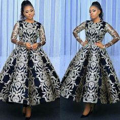 Load image into Gallery viewer, black prom dresses 2020 crew neckline long sleeve sparkly sequins sliver tea length ball gown prom dress evening dresses Latest African Fashion Dresses, African Dresses For Women, African Print Dresses, African Print Fashion, African Attire, African Women, African Dress Designs, Ankara Fashion, Africa Fashion